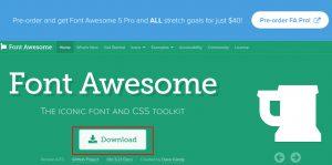 Font awesomeのトップページ ダウンロードボタンを押す